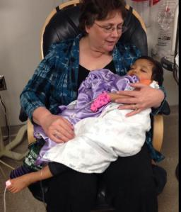 (Snuggling with Grandma after being sedated)